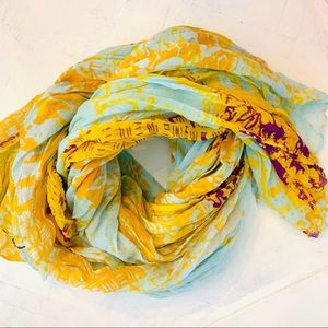 Accessories - Broomstick Gauze Abstract Tribal Print Scarf EUC